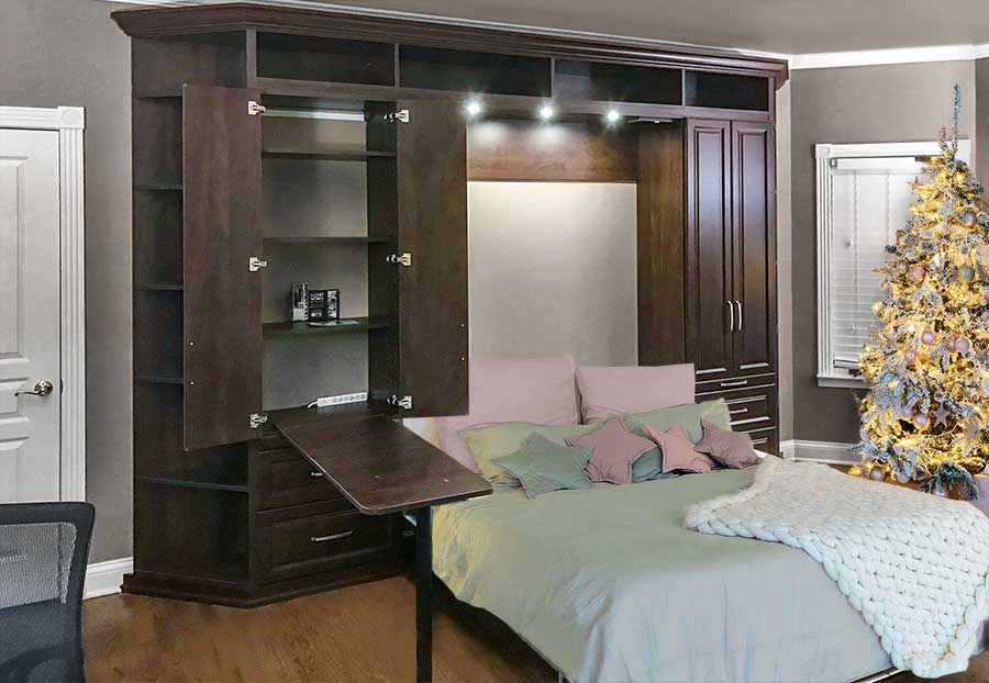 Murphy bed for Christmas guests aids holiday organization