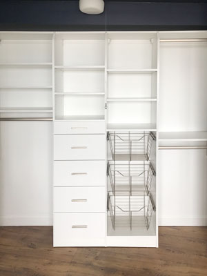 moderne reach in closet with baskets
