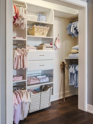 baby closet with deep return set up for for two children