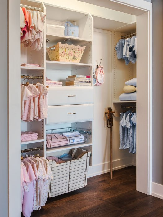 use a combination of closet drawers and pull-out baskets for cost savings