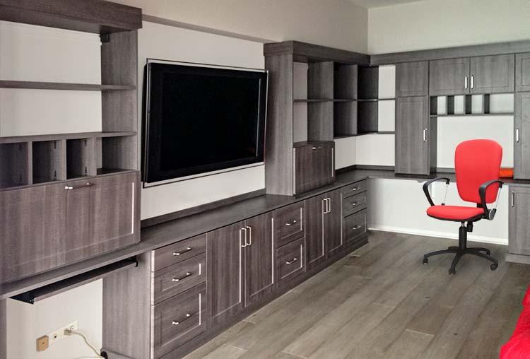 Home office with shelving, cabinets and desk area in breakwater thermally fused laminate and brushed chrome hardware
