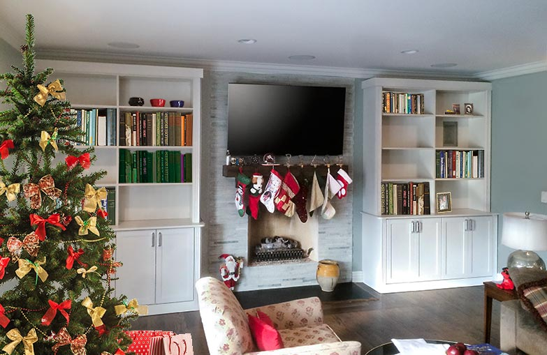 Wall unit fireplace surround adds storage to this Chicago area family room
