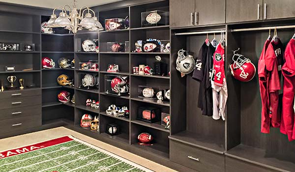 Custom wall unit for a football themed man cave