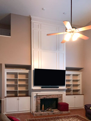 custom white bookshelves wall unit