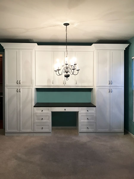 wall unit and home office with crescent handles