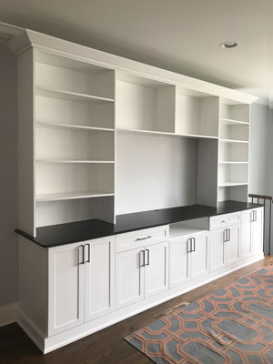 transitional style white wall unit