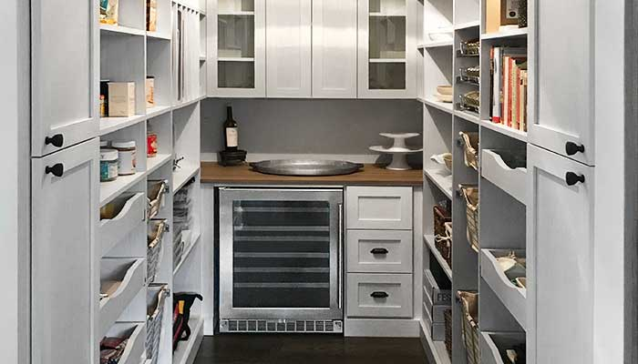 Pantry closet idea combines wine and beverage bar with food storage