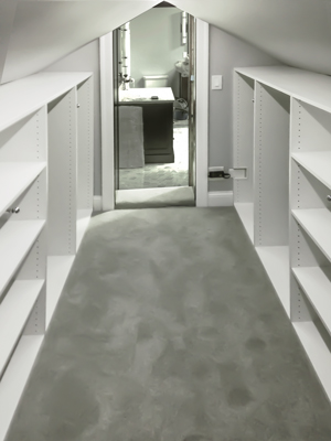 custom closet under angled ceiling