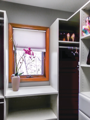 custom closet with personalized window hutch