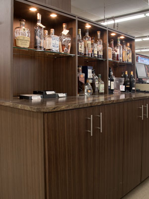 custom bar design for beer and fine wine store