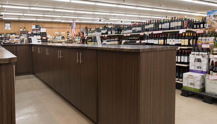 custom cabinetry for beer and wine store