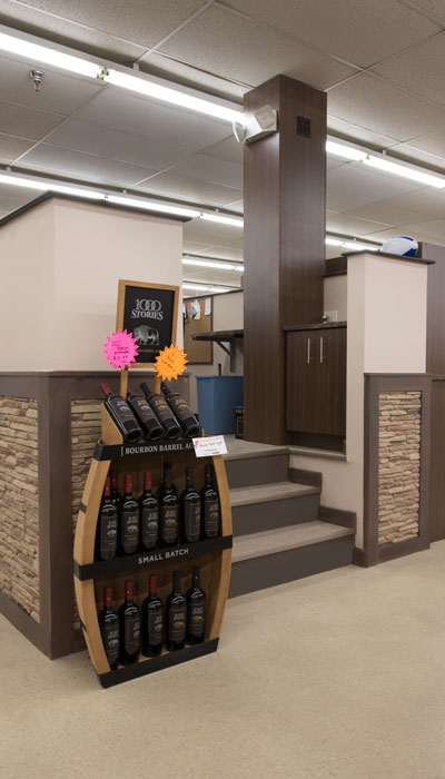 custom laminate covered column to blend with decor of beer and wine store