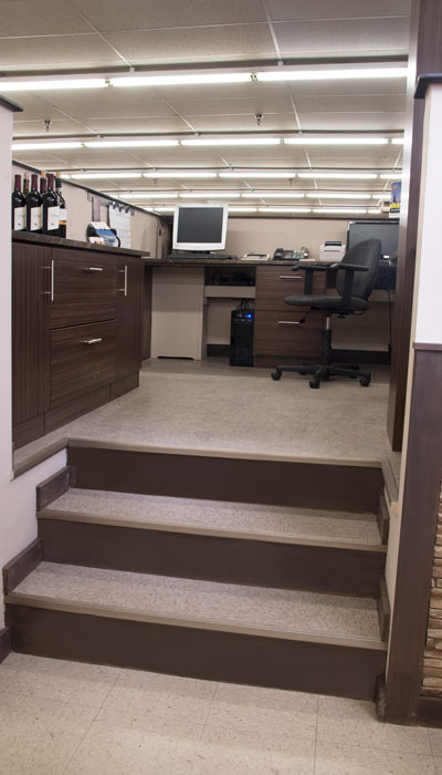 custom office space in beer and wine store