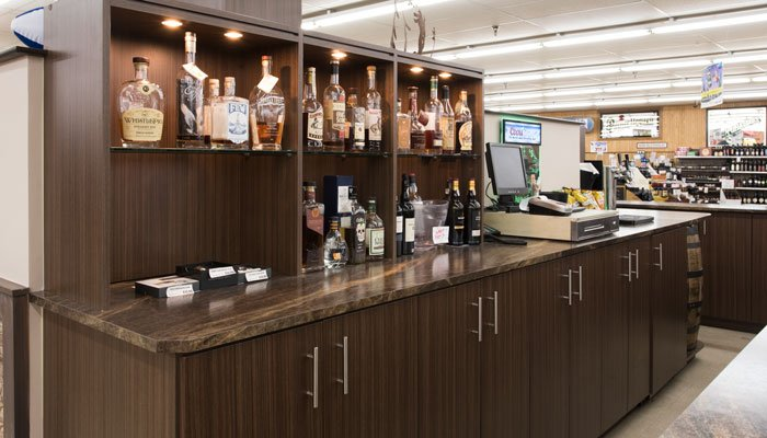 custom lighting and cabinets for a beer and wine store
