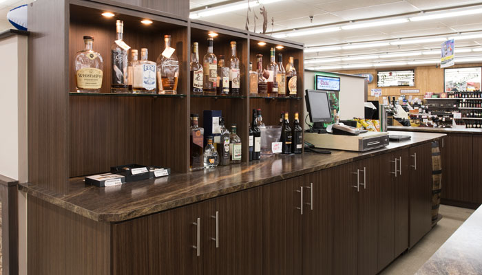 custom lighting and wine bar cabinets designs for a beer and wine store
