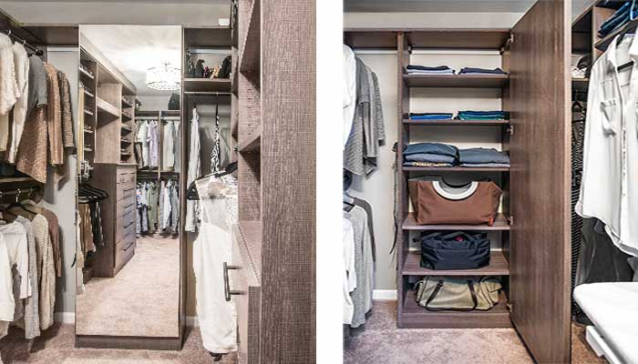 Master bedroom closet ideas include a mirrored cabinet door