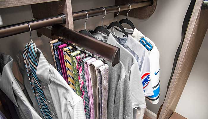 Best closet organiers for small closets include this slide out tie organizer
