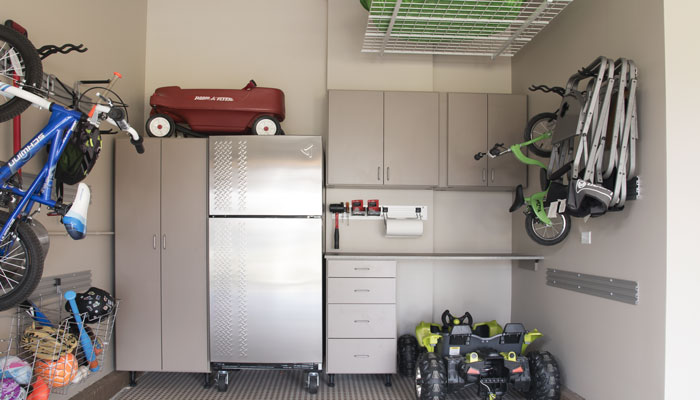 Garage toolbench with overhead cabinet storage