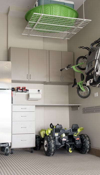 Multi-function garage do-it-yourself workspace and storage