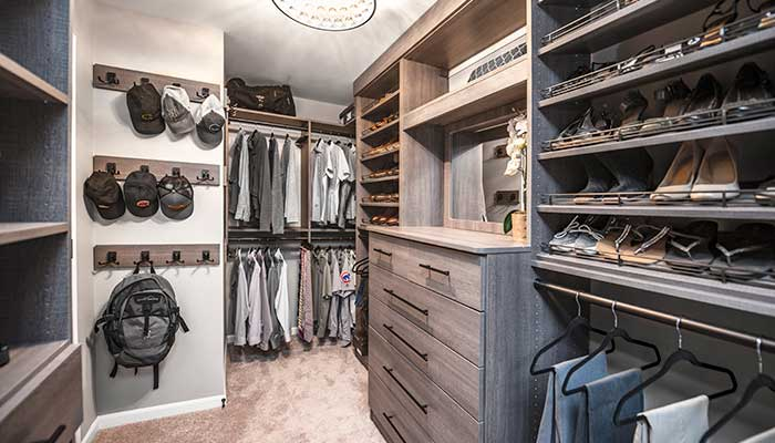 Closet hooks are a good master bedroom closet idea