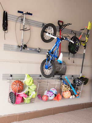 sports activity wall track storage
