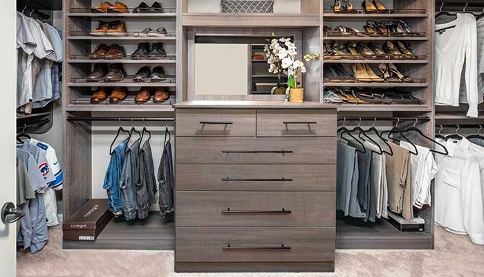 master bedroom closet ideas include a built-in dresser