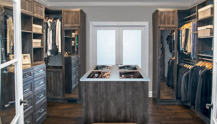 Walk Through Closet Transitions Space From Bedroom To Bathroom Behind  Frosted Glass Doors