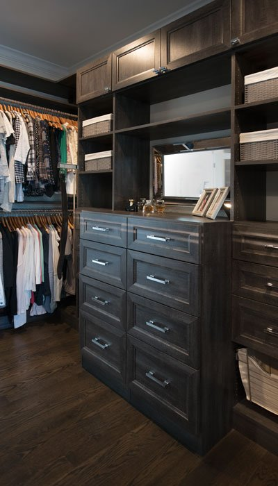 walk in closet with soft close closet drawers