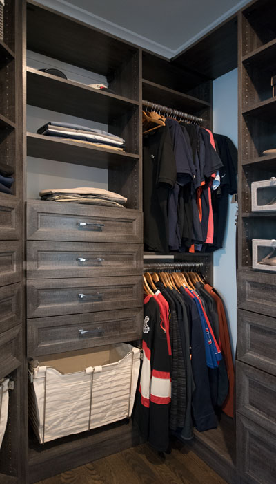 Walk Through Closet With Jewelry Display Set In Closet Island