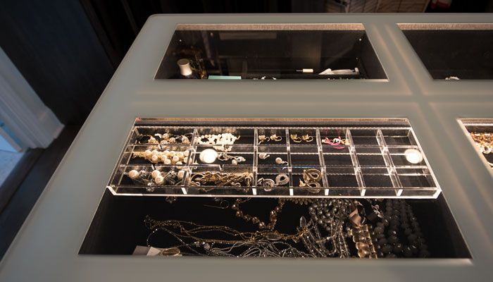Triple tier jewelry organizer in two drawers of jewelry display