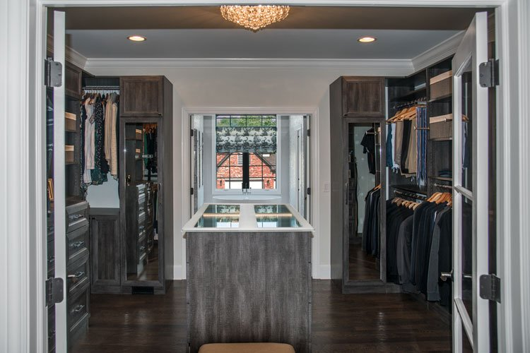 symmetrical walk through closet design