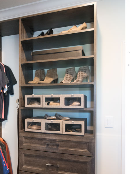 neutral colors in walk through closet system