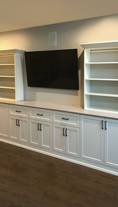 custom wall unit drawer and door fronts in regal