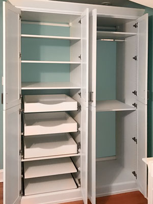 custom contemporary white wardrobe doors open