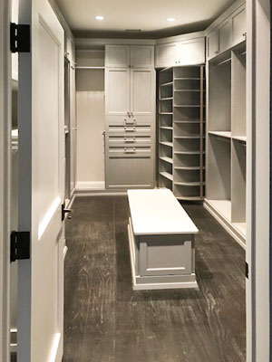rain cloud closet with island bench storage
