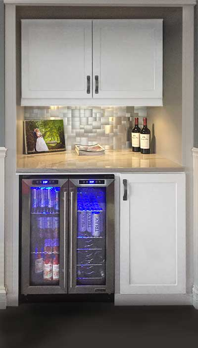 beverage and wine center installed in a converted coat closet