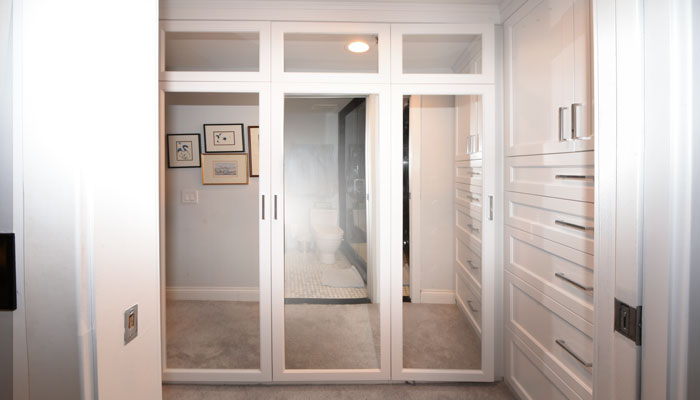 irrored MCloset doors that swing out