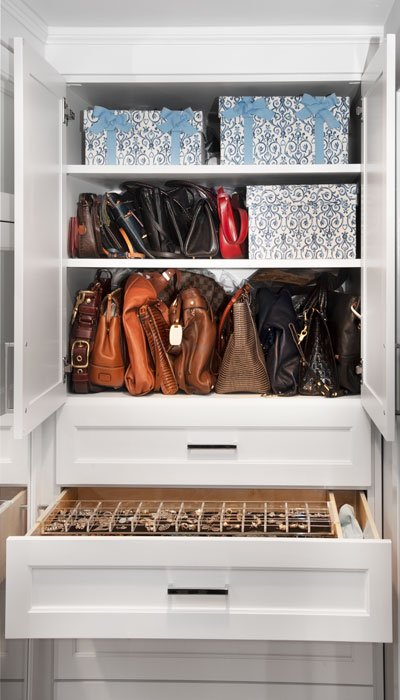 shelves for accessory storage in reach-in closet design
