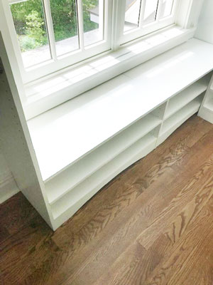window bench seat with shelving