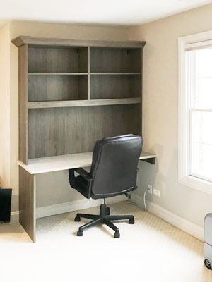 home office desk design with backer