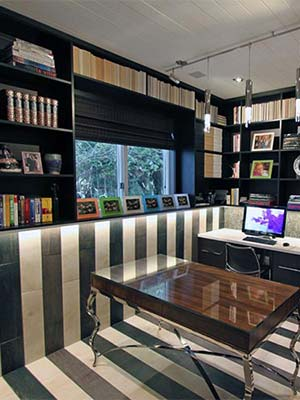 custom home office with wall unit shelving system