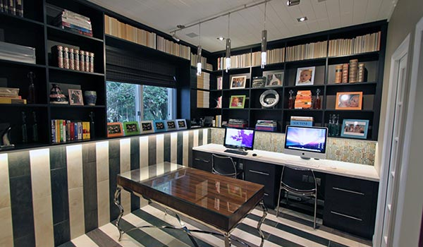 wall office storage. home office designs with 2 work stations and custom wall unit storage