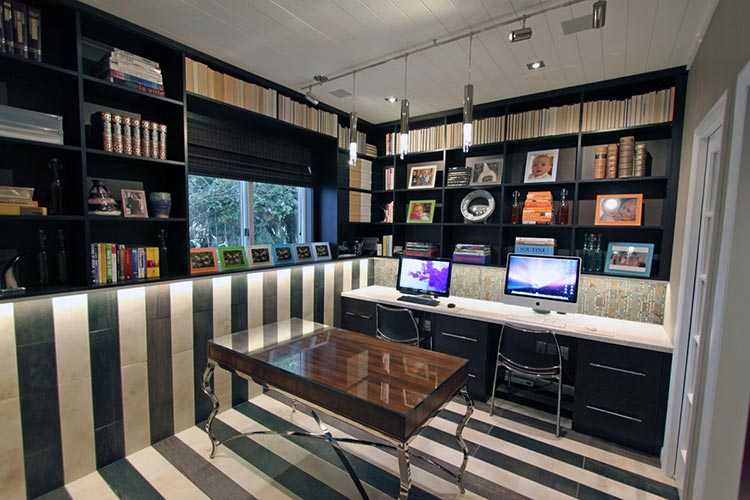 High style custom home office design for two work at home professionals