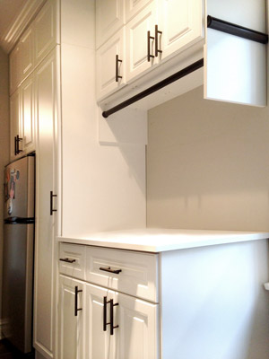 custom laundry organizational system narrow walkway