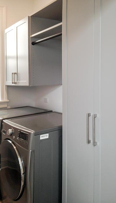 laundry cabinets in rain cloud laminate