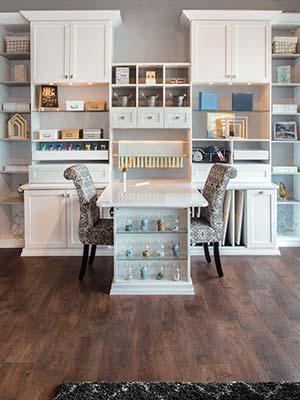 custom craft room and art studio office in white