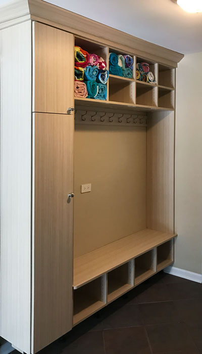 custom mudroom organization system in Summer Breeze thermally fused laminate - TFL