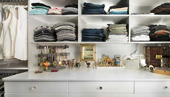 Large closet hutch with open shelves above the countertop