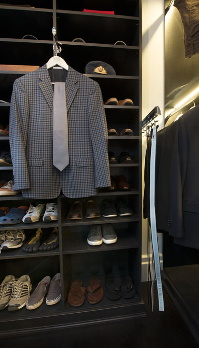 custom walk in closet for him with closet accessories