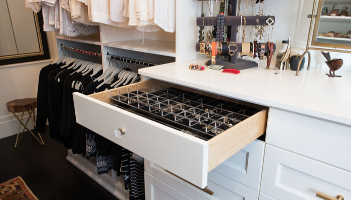 custom walk-in closet designs with jewelry organizer drawer